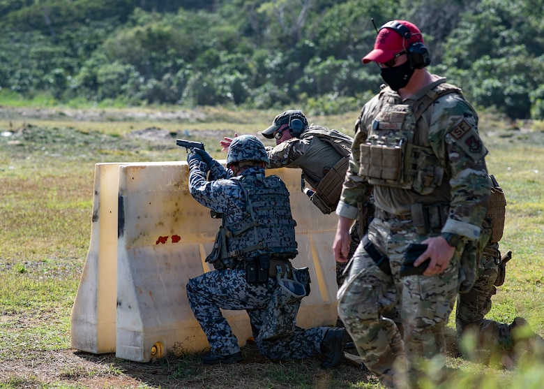 Koku Jieitai defender takes a defensive posture to fire down range during Pacific Defender 21-1 on Andersen Air Force Base, Guam, January 29, 2021