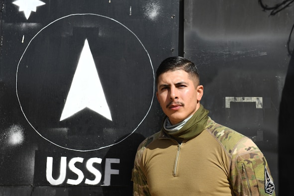 U.S. Air Force Senior Airman John Jaquez, 4th Expeditionary Space Control Flight-Alpha satellite communications, poses for a photo at Nigerien Air Base 201, Agadez, Niger, Feb. 1, 2021. Jaquez was selected to backfill and perform depot-level maintenance tasks to keep the units mission going during COVID-19 operations. (U.S. Air Force photo by Senior Airman Gabrielle Winn)