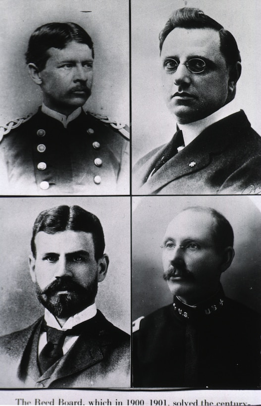 Four separate photos of men in suits and military uniforms make up a larger photo.