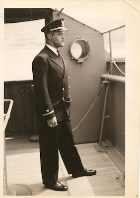 2.Ensign Harvey Russell after graduating from the Reserve officer Training Course. (Photo courtesy of the Russell Family)