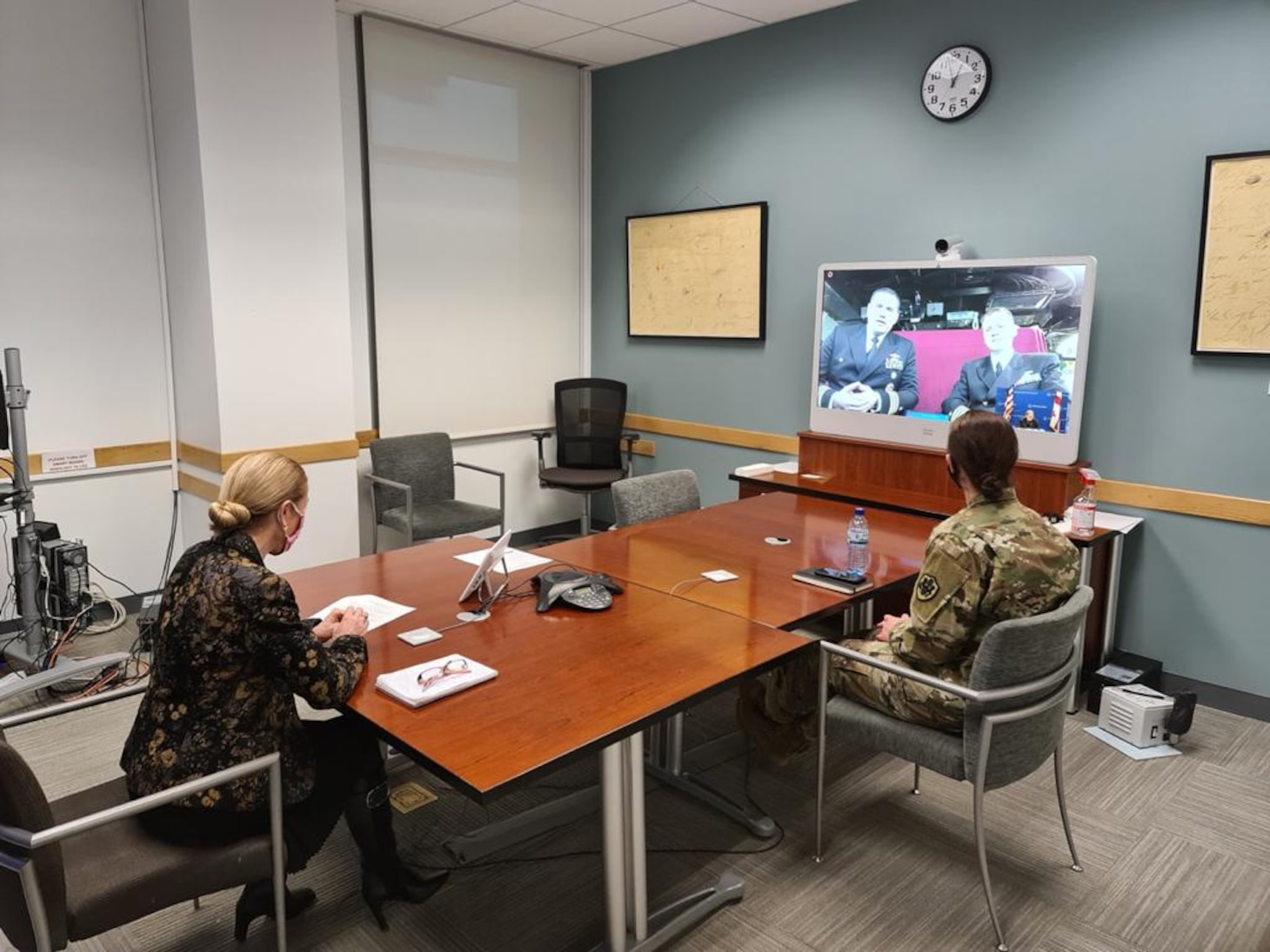 BATUMI, Georgia (Feb. 5, 2021) Ambassador Kelly Degnan and Defense Attaché Col. Stephanie Bagley meet virtually with Arleigh Burke-class guided-missile destroyer USS Donald Cook (DDG 75) Commanding Officer, Cdr. Matthew Curnen and Executive Officer, Cdr. Kurt Astroth while the ship makes a brief stop for fuel and supplies in Batumi, Georgia, Feb. 5, 2021. Donald Cook, forward-deployed to Rota, Spain, is on patrol in the U.S. Sixth Fleet area of operations in support of regional allies and partners and U.S. national security in Europe and Africa. (U.S. Navy photo courtesy of Georgia Embassy courtesy/Released)