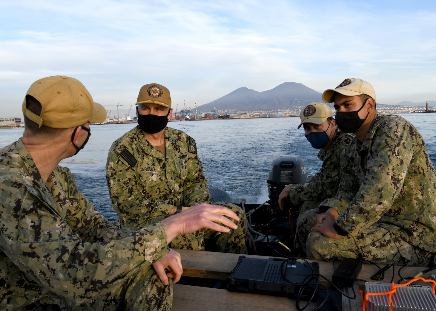 Rear Adm. Anthony Carullo, Deputy Commander, U.S. Sixth Fleet, received a tour of Naples harbor from Underwater Construction Team (UCT) during a coordinated assessment of the Campania region ports, Feb. 4, 2021.