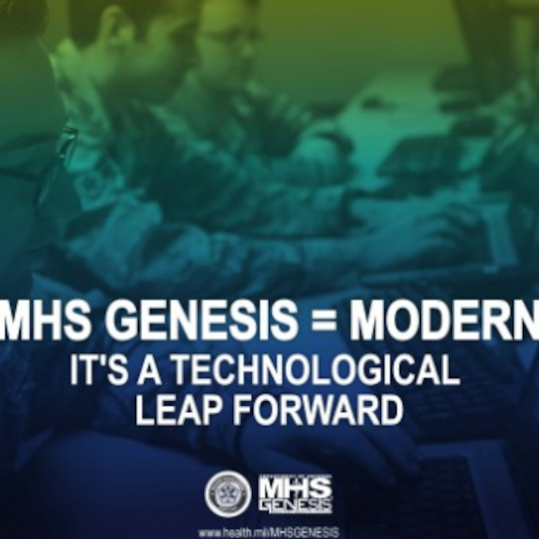 MHS GENESIS photo illustration of Airmen working on computers.