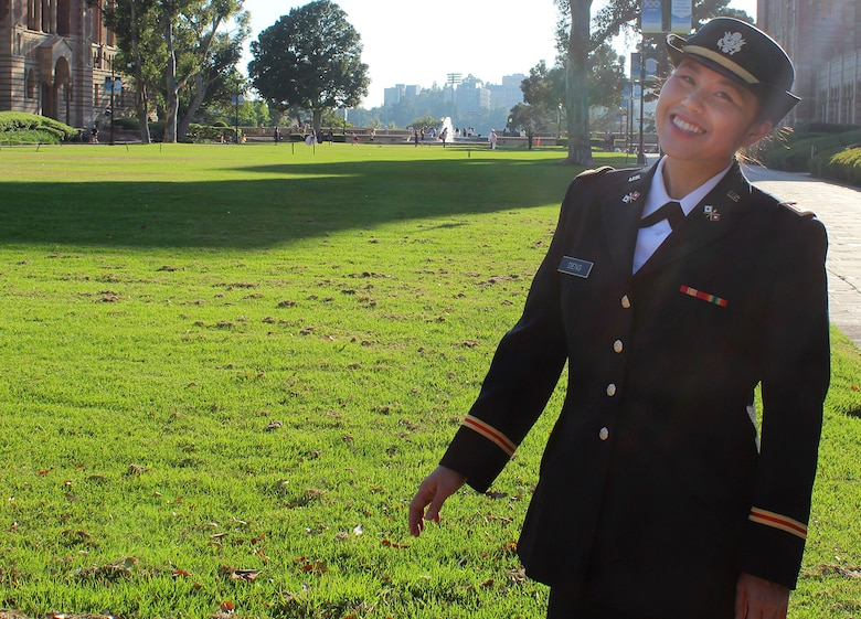 A woman in military uniform
