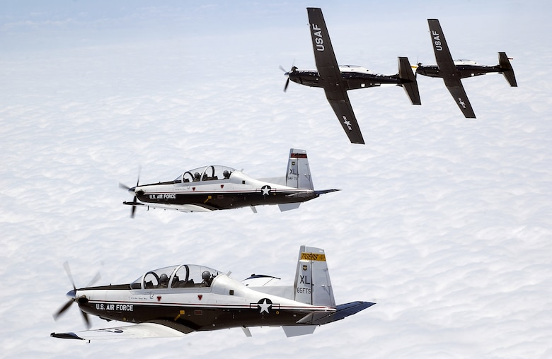 T-6 aircraft from Laughlin AFB, Texas fly dated 19 May, 2004