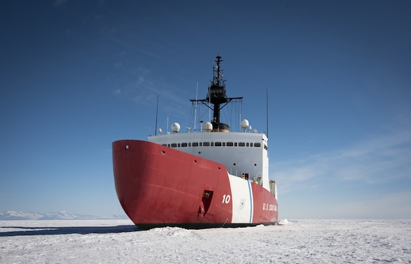 The Coast Guard Cutter Polar Star (WAGB-10) is in the fast Ice Jan. 2, 2020, approximately 20 miles north of McMurdo Station, Antarctica. The 399-foot icebreaker is the only ship in U.S. service capable of clearing a path through the Antarctic ice to escort three refuel and resupply ships to McMurdo Station during Operation Deep Freeze. The ships deliver enough cargo and fuel to sustain year-round operations on the remote continent. U.S. Coast Guard photograph by Senior Chief Petty Officer NyxoLyno Cangemi