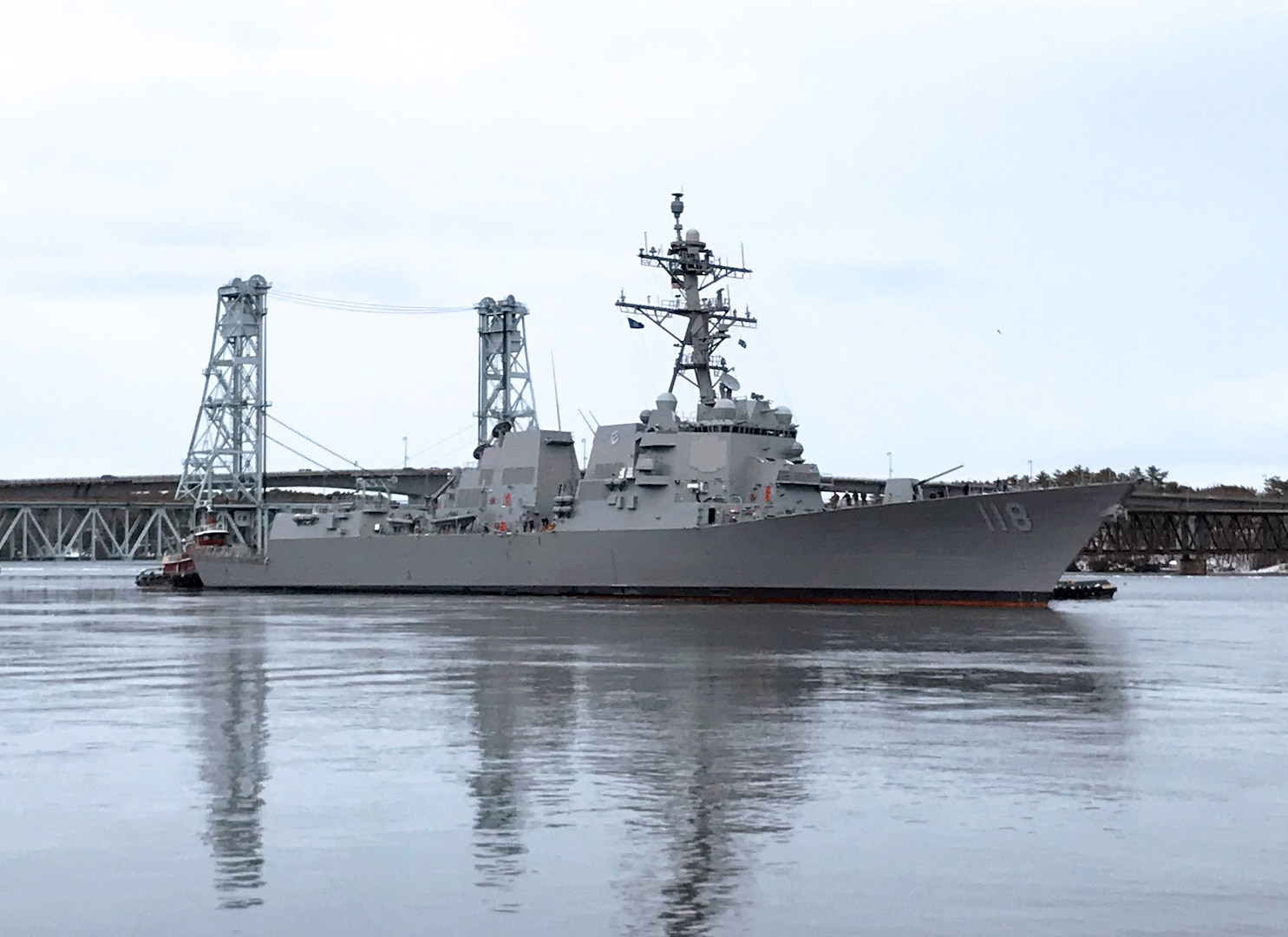The future USS Daniel Inouye (DDG 118) departs General Dynamics Bath Iron Works shipyard on Feb. 3 for acceptance trials.