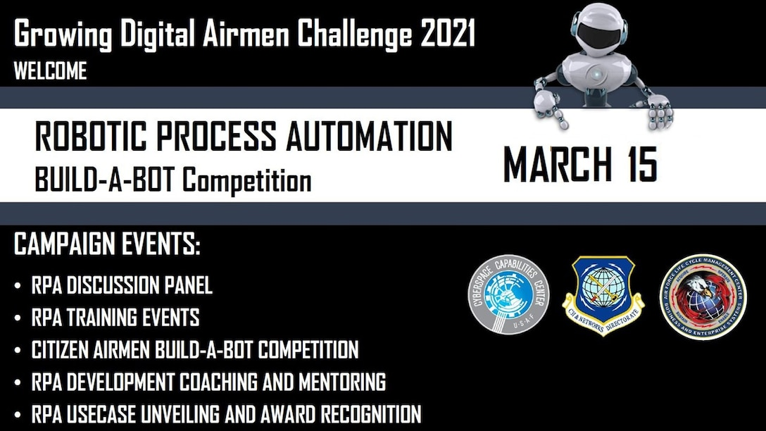 "The Command, Control, Communications, Intelligence and Networks Directorate at Hanscom Air Force Base, Mass., will co-lead the Air Force-wide ""Building Digital Wingman Challenge"" beginning March. 15, 2021. Previous challenges have awarded bots in categories such as ""Makes a Difference,"" ""Covers More Mission,"" ""Does More with Less"" and ""Crushes Most Frustrating Task."" (U.S. Air Force courtesy graphic)"