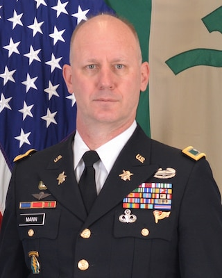 Col. David P. Mann, Commander of the 7th Psychological Operations Group (Airborne)