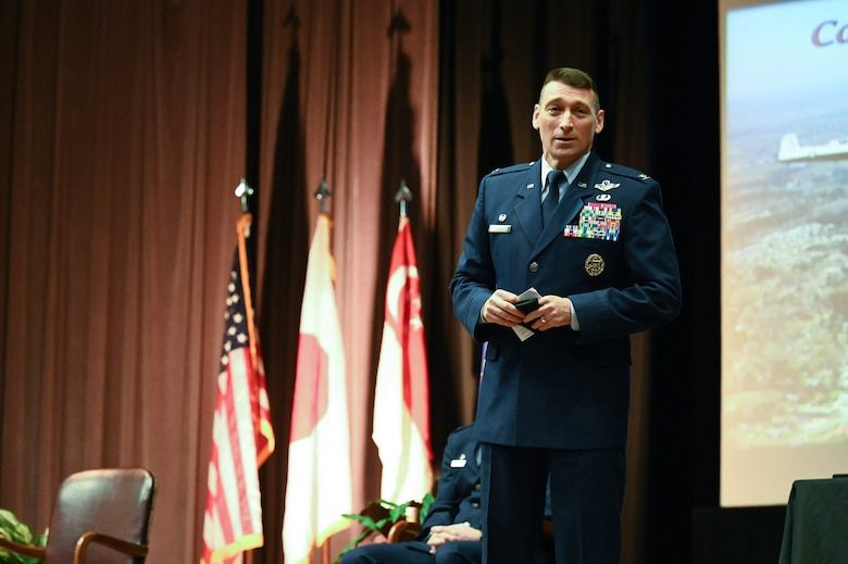"U.S. Air Force Col. Edward Goebel Jr., 461st Air Control Wing, commander, speaks to the newest aviators graduating from class 21-05, Feb. 5, 2021, on Columbus Air Force Base, Miss. Sixteen officers gained the title of ""Air Force pilot"" after a rigorous 52-week training program. (U.S. Air Force photo by Airman 1st Class Jessica Haynie)"