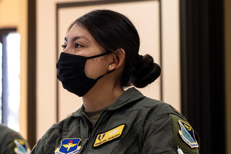 1st Lt. Angelina Robledo 47th Training Wing, student pilot, listens to a lecture from an instructor pilot Feb. 03, 2021 at Laughlin Air Force Base, Texas. This course is a newly implements tool to help prepare student pilots for their pilot training.