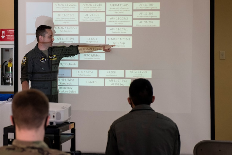 An instructor pilot giving a lecture to the class about the different responsibilities of a pilot and what they have to expect and look forward to Feb. 03, 2021 at Laughlin Air Force Base, Texas. Pilots are   for an aircraft and its crew or cargo, so it's important for students to understand how important it is.(U.S. Air Force photo by Airman 1st Class David Phaff)