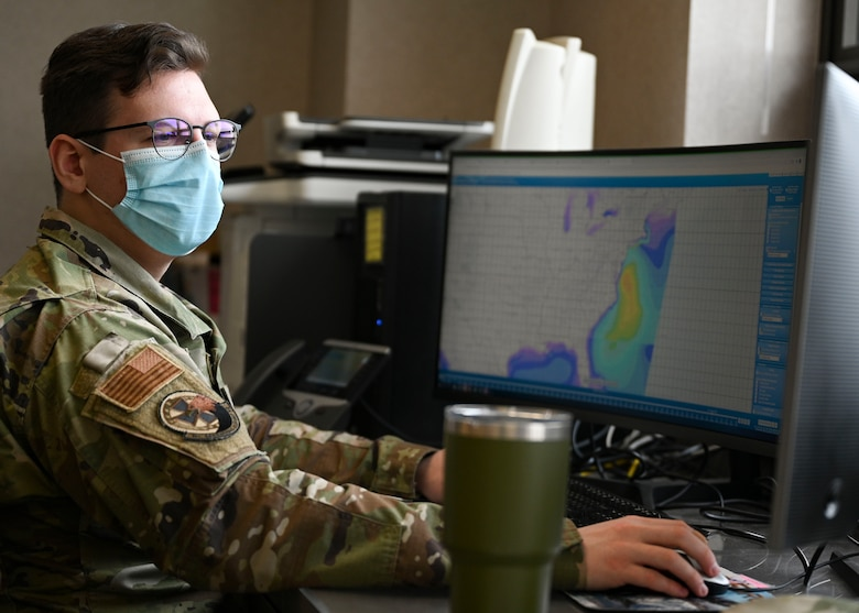 Airman checking weather