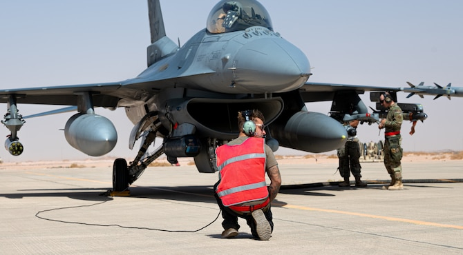 Airmen from the 77th Fighter Generation Squadron completed an Integrated Combat Turnaround training exercise Jan. 28, 2021, at Prince Sultan Air Base, Kingdom of Saudi Arabia.