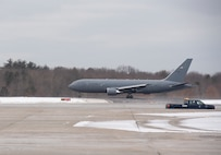 The 12th and final KC-46A Pegasus lands at Pease Air National Guard Base, N.H., Feb. 5, 2021. The aircraft completes the 157th Air Refueling Wing's fleet of future refuelers and marks the beginning of a new generation in air refueling for the New Hampshire Air National Guard.