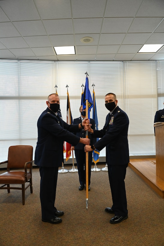 Lt Col Rodger Howard assumes command of the 132d Wing's Mission Support Group on February 6, 2021 at the 132d Wing Air Base in Des Moines, Iowa.