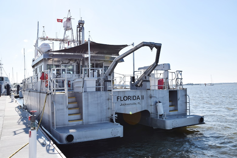U.S. Army Corps of Engineers, Jacksonville District Survey Vessel Florida II sits docked at the Fernandina Beach Marina before conducting a routine hydrographic survey off-shore. The crew of the U.S. Army Corps of Engineers, Jacksonville District Survey Vessel Florida II, assisted the U.S. Coast Guard in the rescue of a distressed small boat off the coast of Florida recently. (USACE photo by Mark Rankin