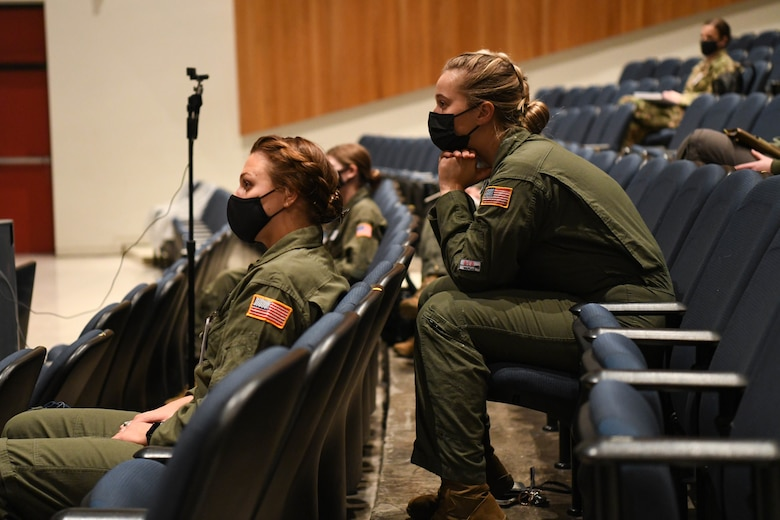 United States Air Force Academy cadets listen to the Women in Aviation panel Jan. 22, 2021, at Colorado Springs, Colorado. The panel topics covered experiences for female aviators, the role as a pilot in the Air Force, and the KC-46 program. (United States Air Force photo by Senior Airman Nilsa Garcia)