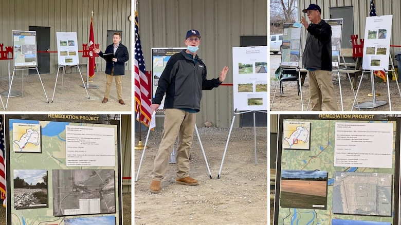 IN THE PHOTOS, Memphis District Commander Col. Zachary Miller, the district partner, and other district team members are briefed on the details of the project. Afterward, the group held a ribbon-cutting ceremony, symbolizing the victory and celebration of completing yet another significant project. (USACE photos by Jessica Haas)