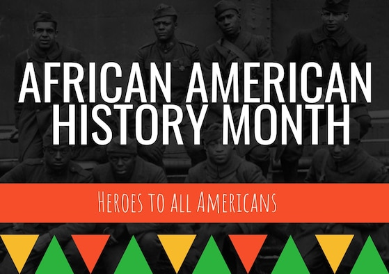 Graphic that reads African American History Month with red, green and yellow shapes.