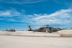 Colorado Army National Guard UH-60 Black hawk helicopters prepare to depart the runway at the Chief Warrant Officer 5 David R Carter Army Aviation Support Facility, Buckley Air Force Base, Aurora, Colorado July 30, 2019.  Civic Leaders from throughout Colorado were hosted by the Adjutant General of Colorado U.S. Air Force Maj. Gen. Michael Loh, to observe National Guard capabilities and F-16 training at the CONG's Airburst Range, near Fort Carson, Colorado.