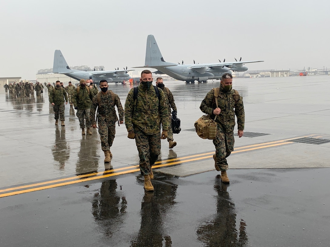 U.S. Marines rehearse distributed operations in mainland Japan, Jan. 31.