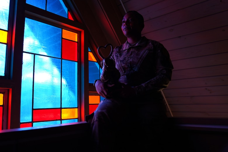 U.S. Air Force Senior Master Sgt. Jessica Player, Mathies NCO Academy director of education, poses inside the Larcher Chapel at Keesler Air Force Base Dec. 10, 2020. As a practicing Muslim, Player follows her faith to help strengthen her purpose. (U.S. Air Force photo by Airman 1st Class Seth Haddix)