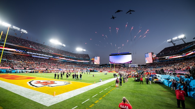 Air Force Global Strike Command bombers perform the Super Bowl LV flyover at Raymond James Stadium in Tampa, Fla., Jan. 7, 2021. The trifecta was the first of its kind as it included a B-1B Lancer from Ellsworth Air Force Base, S.D., a B-2 Spirit from Whiteman AFB, Mo., and a B-52H Stratofortress from Minot AFB, N.D. (U.S. Air Force photo by Airman 1st Class Jacob B. Wrightsman)