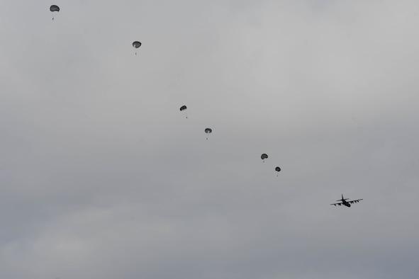 U.S. Air Force pararescue Airman parachuting
