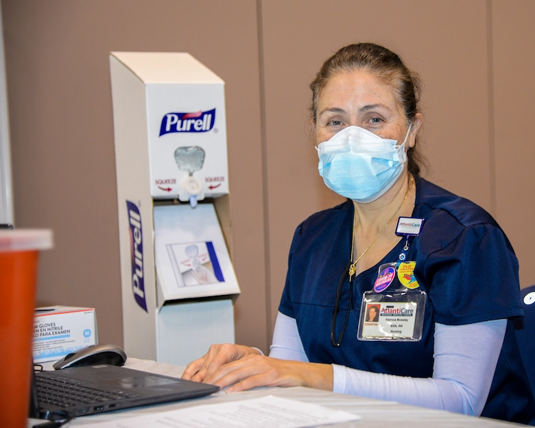 An image of a AtlantiCare Regional Health Services member serving at the Atlantic City Convention Center, Atlantic City, N.J., to help the residents of New Jersey receive the COVID-19 vaccination at the Atlantic County Point Of Distribution mega-site.