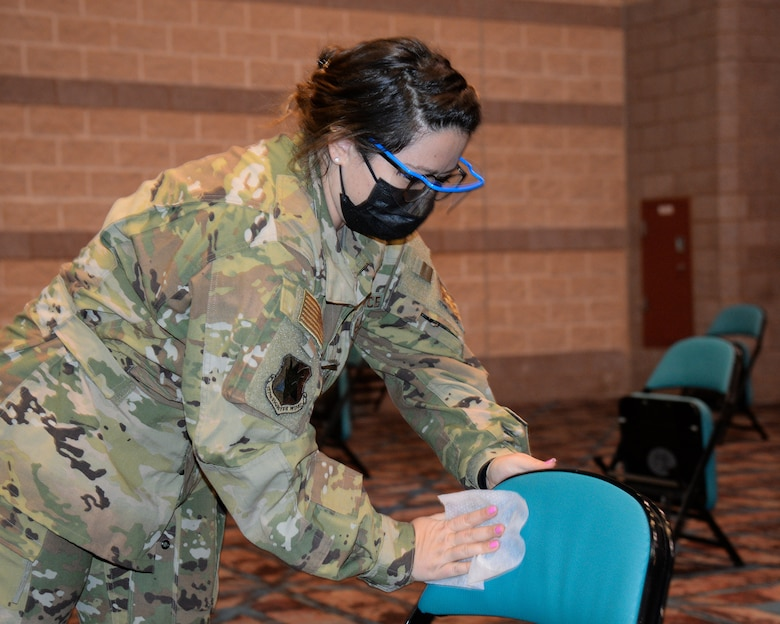 An image of a NJ Air National Guard member serving at the Atlantic City Convention Center, Atlantic City, N.J., to help the residents of New Jersey receive the COVID-19 vaccination at the Atlantic County Point Of Distribution mega-site.