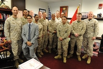 Foreign Area SNCO Program Beta Test selectees meet with 17th Sergeant Major of the Marine Corps, SgtMaj Michael P. Barrett before they embark on their education and training phase.