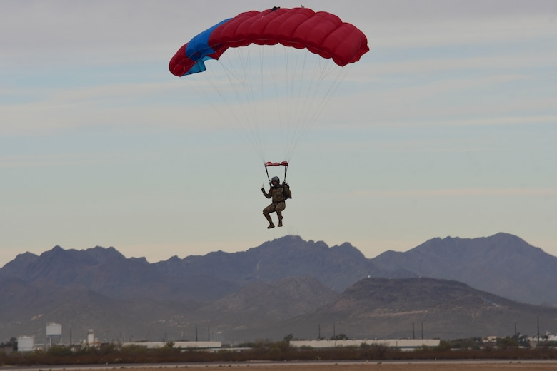 U.S. Air Force pararescue Airman parachuting