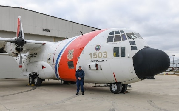 U.S. Coast Guard C-130 aircraft number 1503 is seen on deck at the Fixed Wing Training facility. December 22, 2020 photo submitted by ATTC unit.