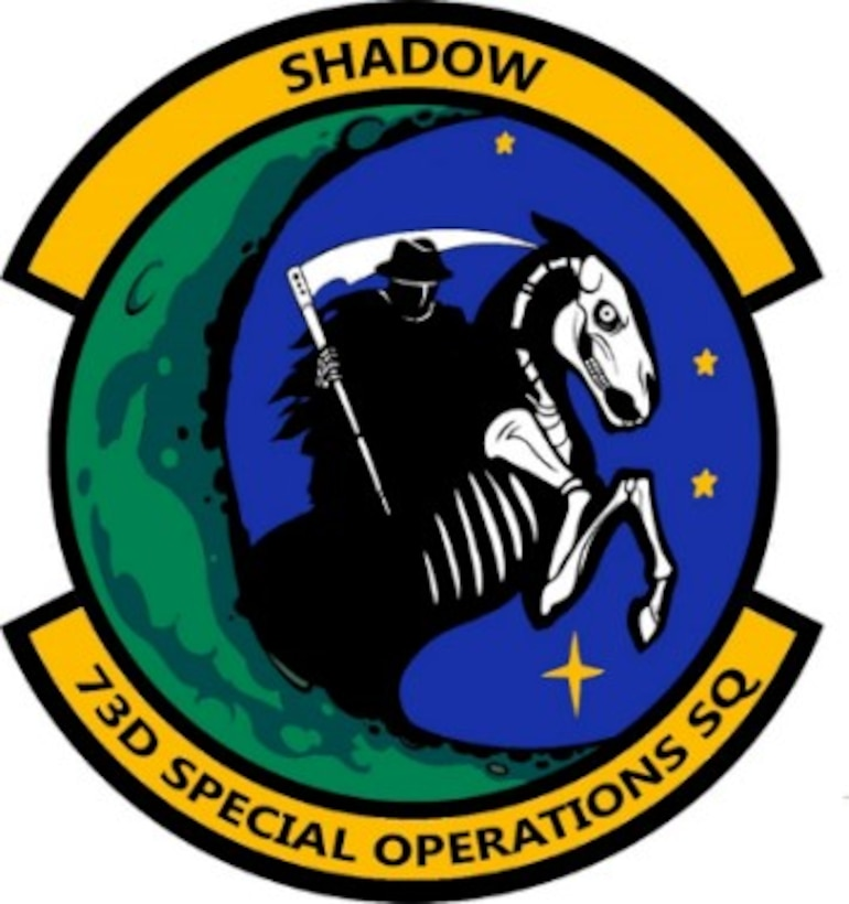 Graphic of a squadron's official emblem. Yellow, blue, black and green are the colors present.