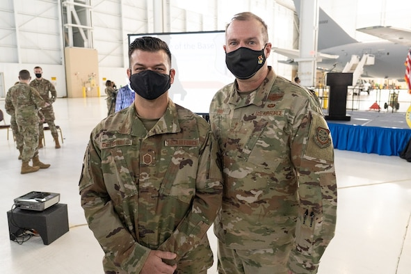 "Master Sgt. Rene Gutierrez, 349th Aircraft Maintenance Squadron C-5 Team Expeditor, was recognized by Maj. Gen. Kenneth Bib, 18th Air Force commander, and Chief Master Sgt. Chad Bickley, 18th AF command chief, for his outstanding efforts with the LNU Lightning Complex fires during the ""State of the Base"" brief here on Feb. 5, 2021."