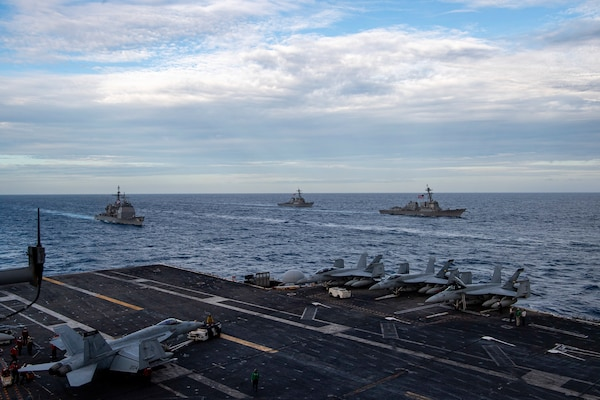 Theodore Roosevelt, Nimitz Carrier Strike Groups conduct dual carrier operations