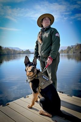 Emily Klinefelter, Park Ranger with Lower Granite Natural Resource Office and Duke the German Shepherd.