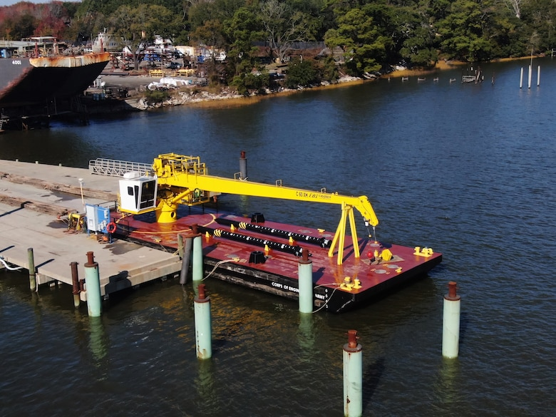 The U.S. Army Corps of Engineers' Marine Design Center managed the design and construction of the Nacotchtank Floating Crane on behalf of the U.S. Army Corps of Engineers Baltimore District. The vessel was delivered in January of 2021.