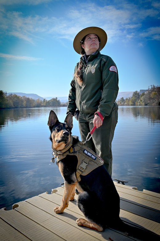 Emily Klinefelter, Park Ranger with Lower Granite Natural Resource Office and Duke the German Shepherd.