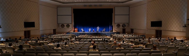 Lieutenant Gen. Richard Scobee, commander of Air Force Reserve Command, addresses members of the 908th Airlift Wing at Polifka Auditorium