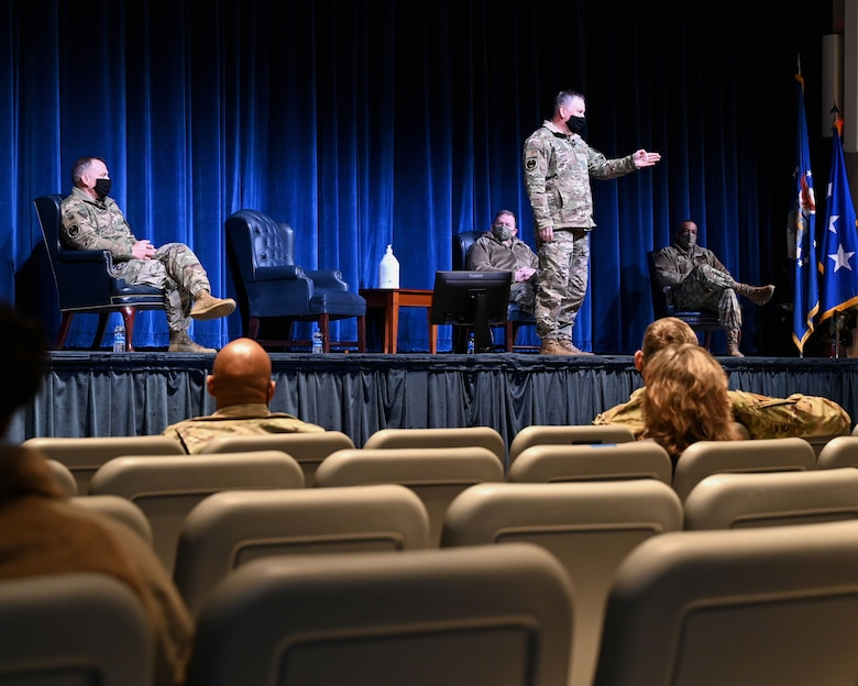 Lieutenant Gen. Brad Webb, commander of Air Education and Training Command, addresses members of the 908th Airlift Wing at Polifka Auditorium