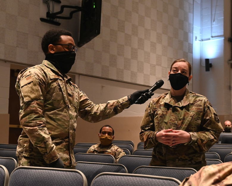Master Sgt. Jennifer Freeman, 908th Logistics Readiness Squadron first sergeant, asks a question to the command teams of Air Force Reserve Command and Air Education and Training Command at Polifka Auditorium