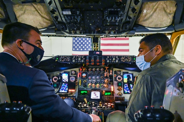 1st Lt. Aaron Price, 465th Air Refueling Squadron pilot, shows the Honorable J. Kevin Stitt, Governor of Oklahoma, the inside of the KC-135R Stratotanker during a visit to the 507th Air Refueling Wing, Feb. 5, 2021, at Tinker Air Force Base, Oklahoma. (U.S. Air Force photo by Senior Airman Mary Begy)