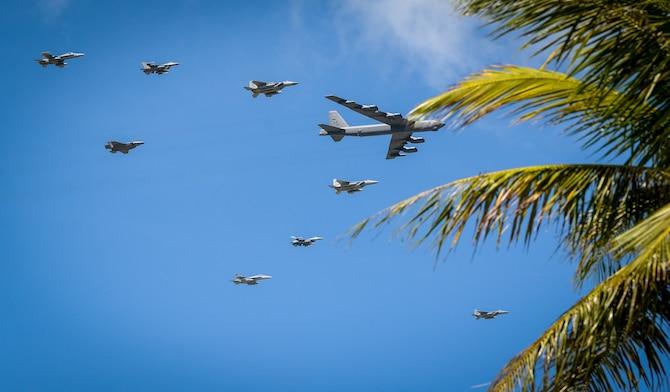 U.S. Air Force, Japan Air Self-Defense and Royal Australian Air Force aircraft fly in formation during Cope North 21 at Andersen Air Force Base, Guam, Feb. 9, 2021.