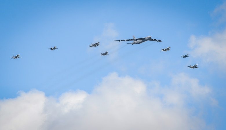 U.S. Air Force, Japan Air Self-Defense and Royal Australian Air Force aircraft fly in formation during Cope North 21 at Andersen Air Force Base, Guam, Feb. 9, 2021.