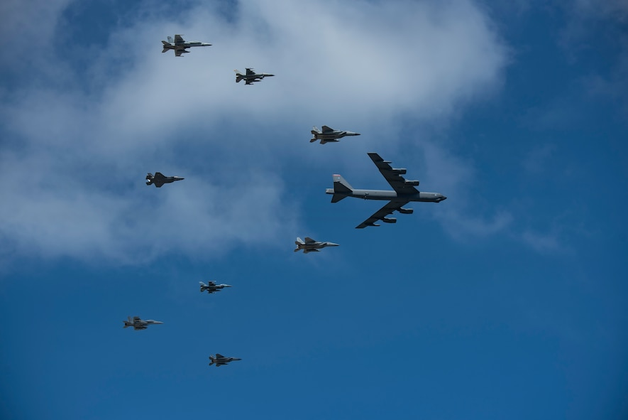 U.S. Air Force, Japan Air Self-Defense Force and Royal Australian Air Force aircraft fly in formation during exercise Cope North 21 at Andersen Air Force Base, Guam, Feb. 9, 2021.