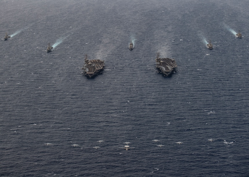 The Theodore Roosevelt and Nimitz Carrier Strike Groups steam in formation on scheduled deployments to the 7th Fleet area of operations. As the U.S. Navy's largest forward-deployed fleet, 7th Fleet routinely operates and interacts with 35 maritime nations while conducting missions to preserve and protect a free and open Indo-Pacific Region.