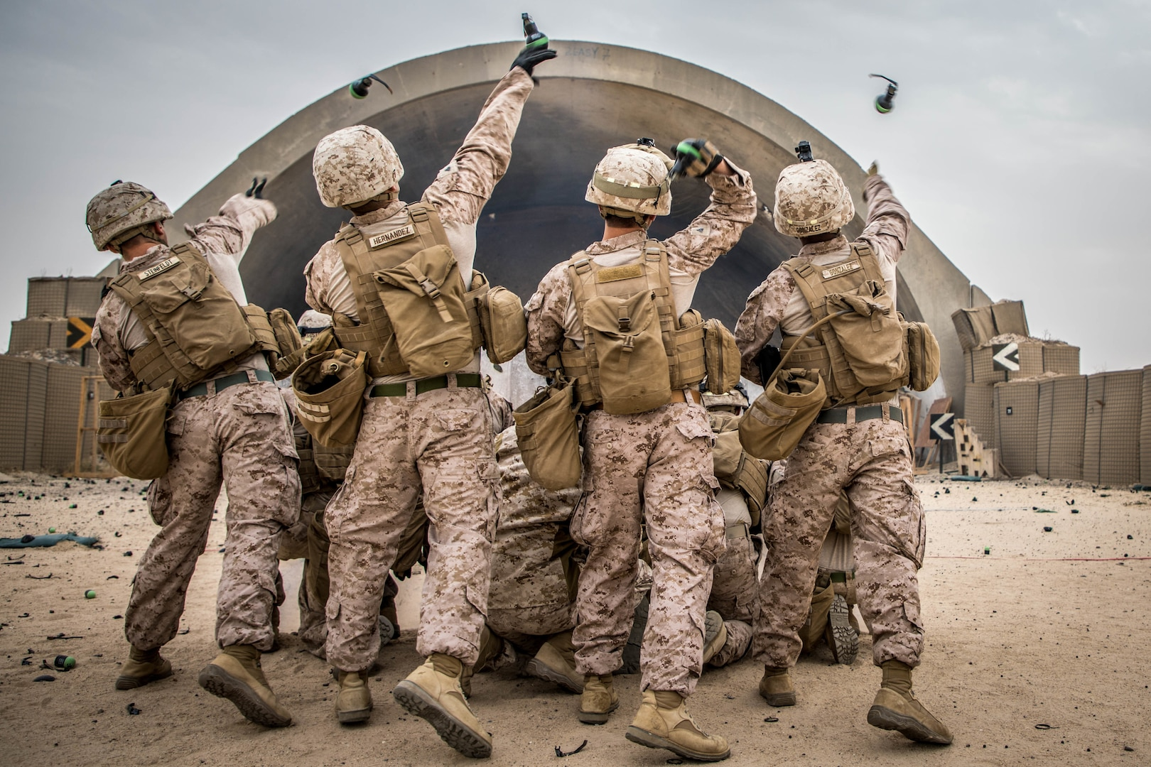 Marines throw nonlethal grenades during nonlethal weapons training exercise, January 18, 2020.