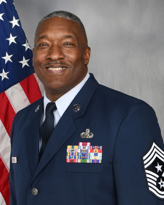 Official Air Force photo for Chief Master Sgt. LeRoy McCardell. McCardell is the 131st Bomb Wing command chief master sergeant. (U.S. Air National Guard photo by Senior Master Sgt. MaryDale Amison)